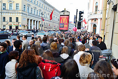 Large crowd of people on Nevsky Prospect Editorial Stock Image