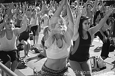 Yoga Class Time Square Editorial Photography