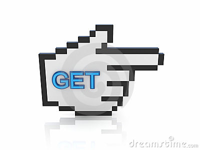 Large cursor with a word GET.