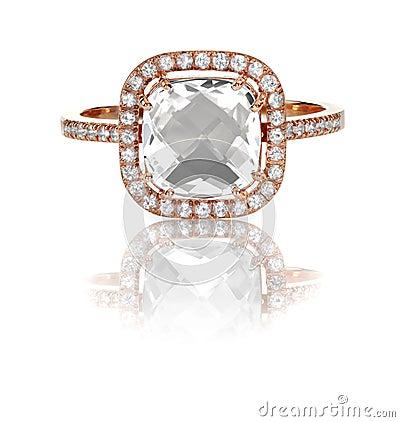Free Large Cushion Cut Modern Diamond Halo Engagement Wedding Ring Royalty Free Stock Photography - 37273347