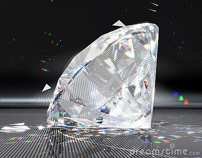 Large diamond with striped reflection