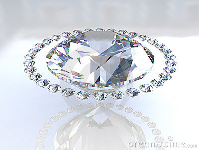 Large diamond surrounded by small companions