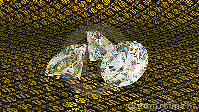 Large diamonds over golden dollar background