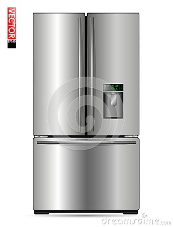 Free Large Double-wing Refrigerator With Metal Coating, Display And Freezer. Suitable For Illustrating Kitchens, Products Or Royalty Free Stock Images - 102340089
