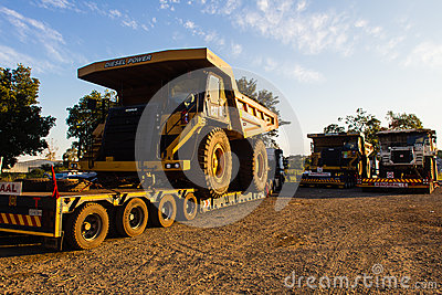 Large Earthwork Mining Trucks Editorial Stock Image