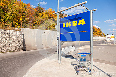 Large empty blue shopping cart near the ikea samara store for What time does ikea close