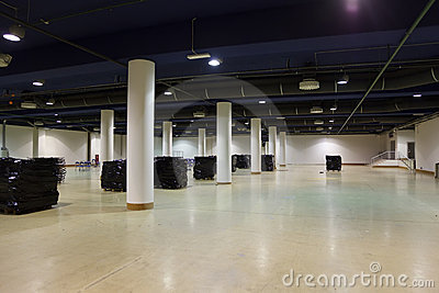 Large, empty warehouse.