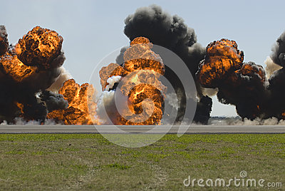 Large explosion on airport runway