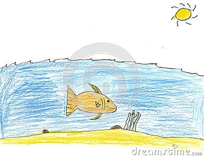 Stock Photo Large Fish Under Sea Drawing Image11535160