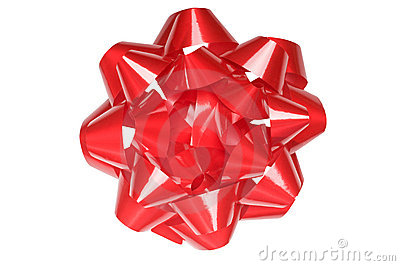 Large gift bow, shiny red, isolated on white