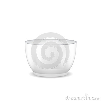 Large glass salad bowl with a deep-bottomed