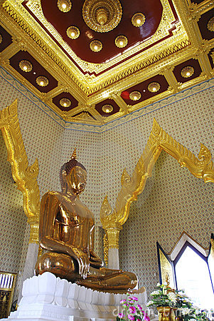 Large Golden Buddha in Temple of Thailand