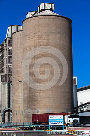 Large Grain Silos Truck Editorial Photo