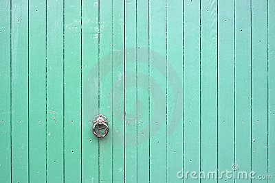 Large Green Wooden Gates with Handle