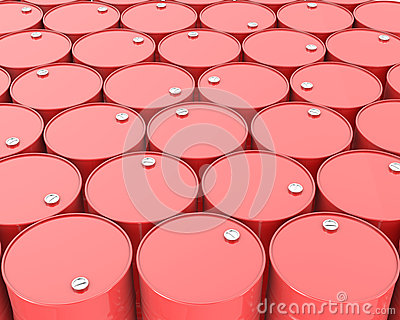 Large group of barrels