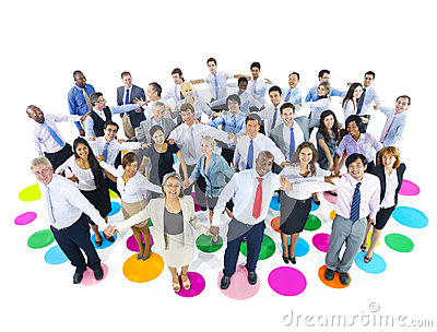 Large Group of Business People Holding Hands