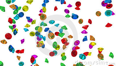 Large group of colorful Diamonds isolated
