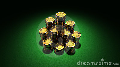 Large group of gold casino chips
