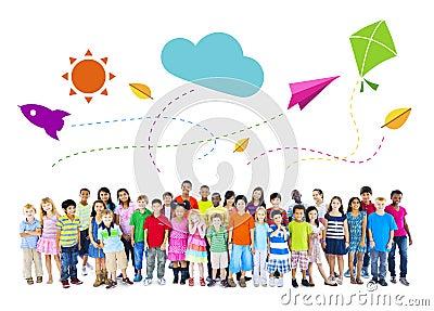 Large Group of Multi-Ethnic Children Childhood Activities Stock Photo