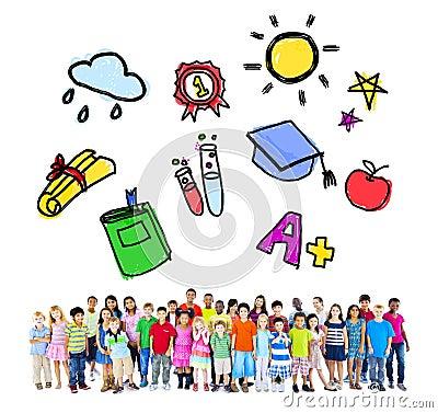 Large Group of Multiethnic Children School Activities Stock Photo