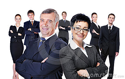 Large group of  successful businesspeople