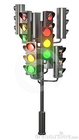 Large group of traffic lights on single stand