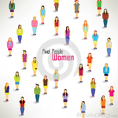 A large group of women gather  design