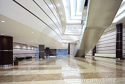 Large hall with staircase and glass doors Stock Photo