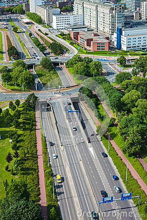 Large highway with roundabout in the Dutch city of Rotterdam