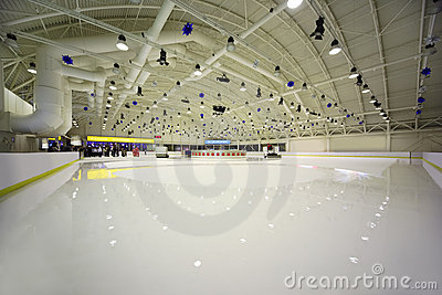 Large light indoor ice rink
