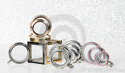 Large Lockets against a glitter background