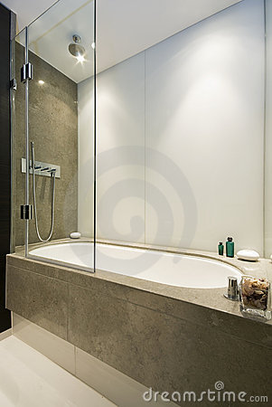 Large luxury bath with shower attachment