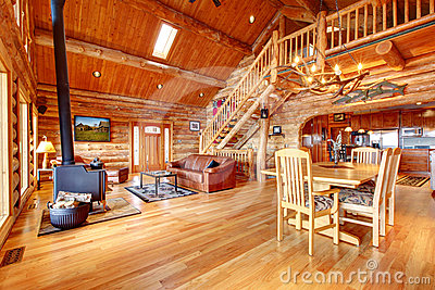 Large luxury log house living room.