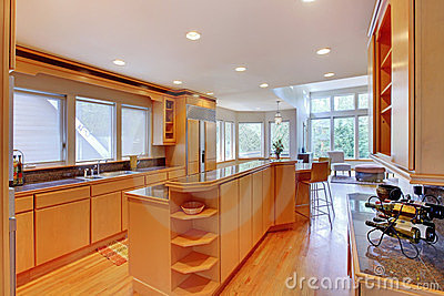 Large luxury modern wood kitchen .