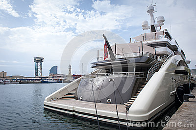 Large luxury yacht in harbour