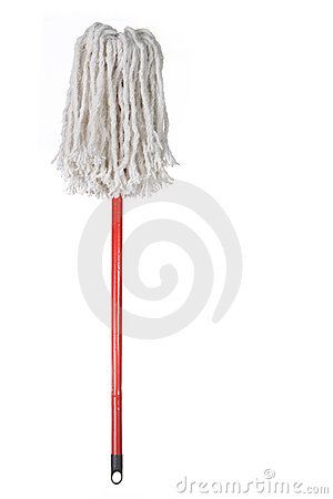 Free Large Mop Upside Down Isolated On White Stock Photos - 9222373