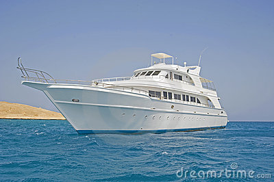 Large motor yacht at sea
