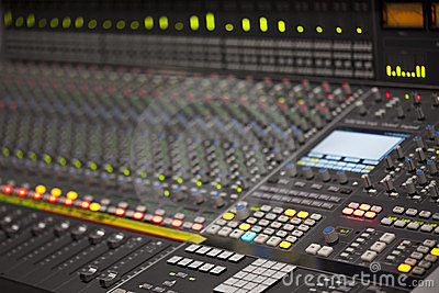 Large digital Mixer desk in recording studio