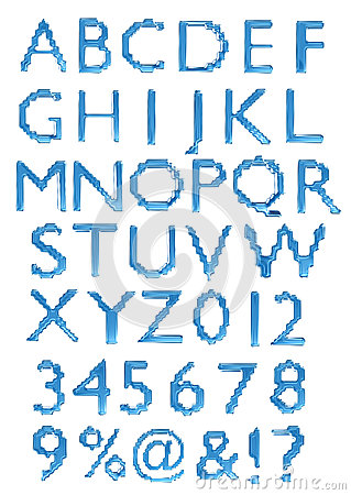 A large number of 3d Glass alphabet spelling art a