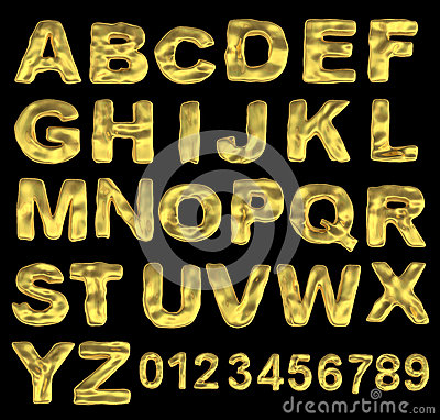 A large number of 3d Gold alphabet spelling art ar