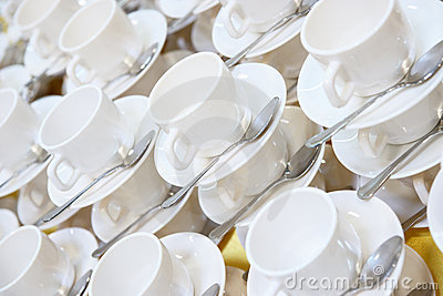 Large number of stacked teacups