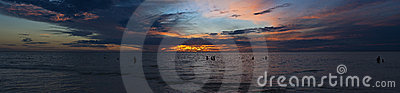 Large ocean sunset panorama