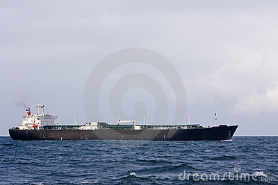 Large oil tanker in rough sea
