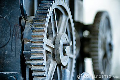 Large old industrial gears