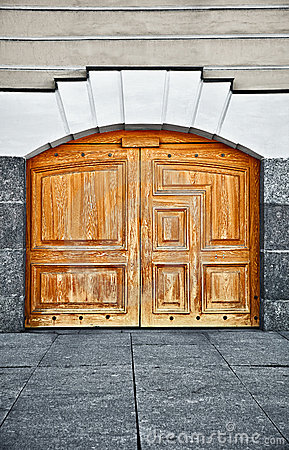 Large old wooden door