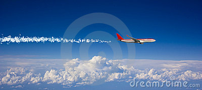 Large passenger plane  in  blue sky