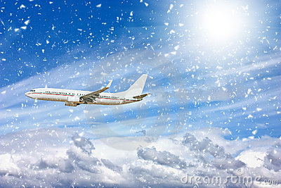 Large passenger plane  in  blue sky
