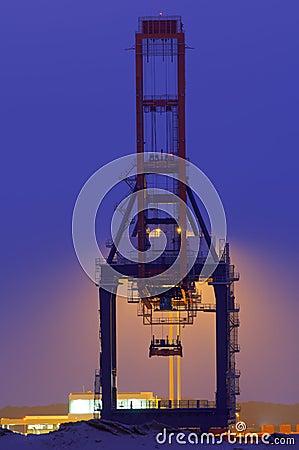 Large quay crane at night