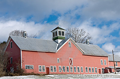 Large Red Barn Winter