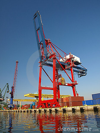 Large red container crane
